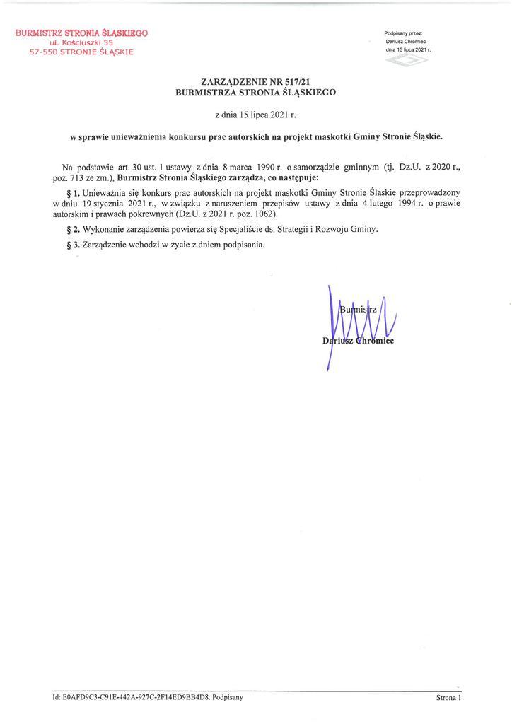 ZB w sprawie unieważnienia konkursu prac autorskich na projekt maskotki Gminy Stronie Śląskie.jpeg