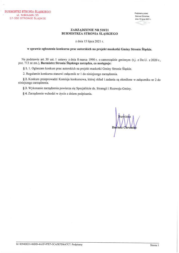 ZB w sprawie ogłoszenia konkursu prac autorskich  na projekt maskotki Gminy Stronie Śląskie - Zarządzenie Burmistrza Stronia Śląskiego.jpeg